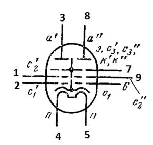 Схема соединения электродов лампы 6Р5П