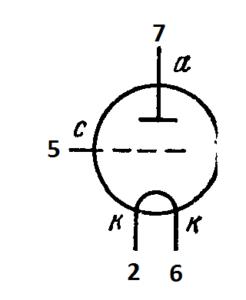 Схема соединения электродов лампы 1Е4А
