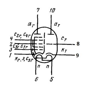 Схема соединения электродов лампы 6И4П