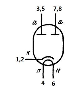 Схема соединения электродов лампы 6МХ1С