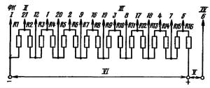 Типовая схема делителя ФЭУ-55. Делитель - неравномерный: R1 = 1/3 R; R2-2/3 R; R3-R16 = R. I – к фотокатоду; II – к модулятору; III - к динодам; IV – к аноду; V – к нагрузке; VI – к источнику питания.