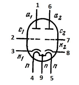 Схема соединения электродов лампы E80CC