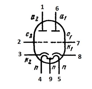Схема соединения электродов лампы ECC802S