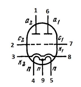 Схема соединения электродов лампы ECC803S