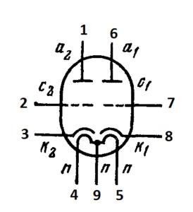 Схема соединения электродов лампы ECC82