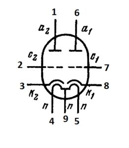 Схема соединения электродов лампы ECC83