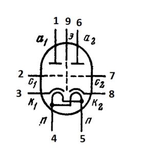 Схема соединения электродов лампы ECC85