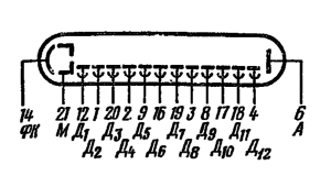 Схема соединения электродов лампы ФЭУ-16
