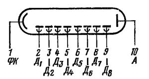 Схема соединения электродов лампы ФЭУ-20