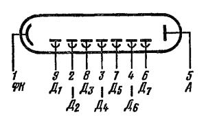 Схема соединения электродов лампы ФЭУ-26
