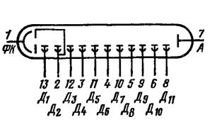 Схема соединения электродов лампы ФЭУ-28