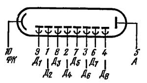 Схема соединения электродов лампы ФЭУ-31
