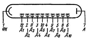Схема соединения электродов лампы ФЭУ-68