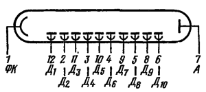 Схема соединения электродов лампы ФЭУ-60