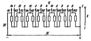 Типовая схема делителя ФЭУ-79. Делитель напряжения - равномерный. Сопротивление звена делителя R ≤0,2 МОм. . I – к нагрузке; II – к аноду; III - к источнику питания; IV – к фотокатоду; V – к динодам.