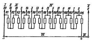 Типовая схема делителя напряжения ФЭУ-82 для работы в статическом режиме. Делитель напряжения - неравномерный: R1 = R3 = 0,5R; R2 = R4 =…R15 = R. . I – к фотокатоду; II – к модулятору; III - к фокусирующему электроду; IV – к динодам; V – к аноду; VI – к нагрузке; VII – к источнику питания.