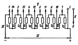 Типовая схема делителя ФЭУ-86. Делитель напряжения - неравномерный: R2 = 0,7R; R11 = 0,3R; R1 = R3 =…= R10 = R≤ 0,6 МОм. . I – к нагрузке; II – к аноду; III - к источнику питания; IV – к фотокатоду; V – к динодам.