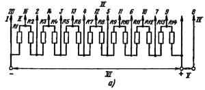 Типовая схема делителя ФЭУ-110 для работы в статическом режиме. Делитель напряжения - неравномерный: R2 = 0,8; R3 = 1,2 R; R14 = 0,5 R; R3 = … = R13 = R. Емкости конденсаторов: С1 = 0,01 мкФ; С2 = 0,025 мкФ; С3 = 0,05 мкФ. I – к фотокатоду; II – к модулятору; III - к динодам; IV – к аноду; V – к нагрузке; VI – к источнику питания.