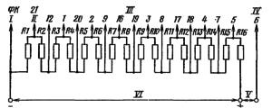 Типовая схема делителя напряжения ФЭУ-114. Делитель напряжения - равномерный. Сопротивление звена делителя R. I – к фотокатоду; II – к модулятору; III - к динодам; IV – к аноду; V – к нагрузке; VI – к источнику питания.