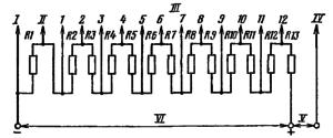 Типовая схема делителя напряжения ФЭУ-96. Делитель напряжения - неравномерный: R1 = 2R; R13 = 0,5R; R2-R12 = R. . I – к фотокатоду; II – к модулятору; III - к динодам; IV – к аноду; V – к нагрузке; VI – к источнику питания.