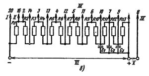 Типовая схема делителя ФЭУ-110 для работы в импульсном режиме. Делитель напряжения - неравномерный: R1 = 0,7 R; R2 = 0,8 R; R3 = 0,9 R; R10 = 1,2 R; R11 = 1,5 R; R12 = 2,2 R; R13 = (2-6) R; R4 = …= R9 = R. Емкости конденсаторов: С1 = 0,01 мкФ; С2 = 0,025 мкФ; С3 = 0,05 мкФ. I – к фотокатоду; II – к модулятору; III - к динодам; IV – к аноду; V – к нагрузке; VI – к источнику питания.