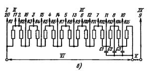 Типовая схема делителя напряжения ФЭУ-97 для работы в импульсном режиме. Делитель напряжения - неравномерный: R1 = 0,7 R; R2 = 0,8 R; R3 = 0,9 R; R12 = 1,3 R; R13 = 2R; R14 = 4R; R15 = (4-7) R; R4-R11 = R. Емкости конденсаторов: С1 = 0,01 мкФ; С2 = 0,025 мкФ; С3 = 0,05 мкФ. I – к фотокатоду; II – к модулятору; III – к динодам; IV – к аноду; V – к нагрузке; VI – к источнику питания.