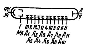 Схема соединения электродов лампы ФЭУ-106