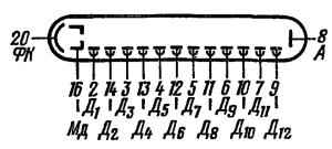 Схема соединения электродов лампы ФЭУ-110