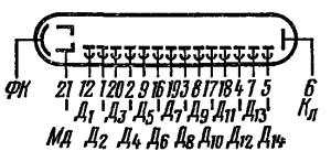Схема соединения электродов лампы ФЭУ-114
