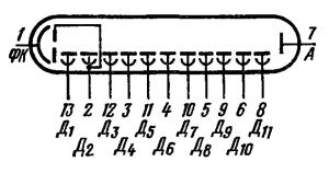 Схема соединения электродов лампы ФЭУ-62