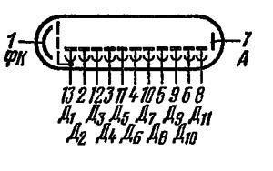 Схема соединения электродов лампы ФЭУ-74