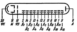 Схема соединения электродов лампы ФЭУ-82