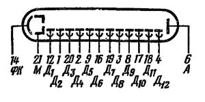 Схема соединения электродов лампы ФЭУ-83