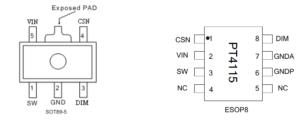 Расположение выводов для разных корпусов PT4115
