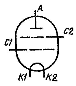 Схема соединения электродов лампы ГК-11