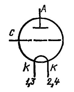 Схема соединения электродов лампы ГК-3А