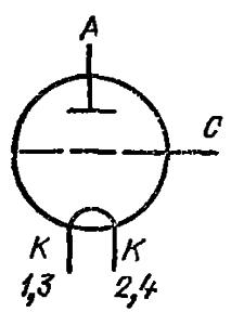 Схема соединения электродов лампы ГК-5А