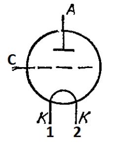 Схема соединения электродов лампы ГМ-1