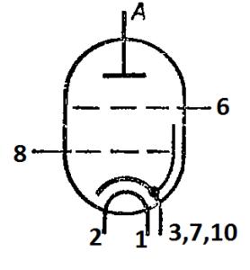 Схема соединения электродов лампы ГП-3