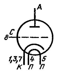 Схема соединения электродов лампы ГП-5