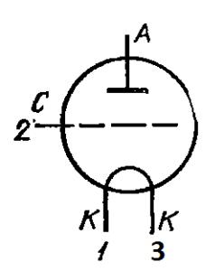Схема соединения электродов лампы ГП-6А