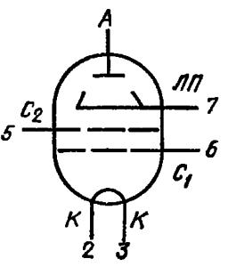 Схема соединения электродов лампы ГУ-13