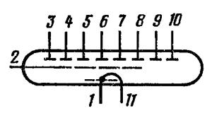 Схема соединения электродов лампы ИВ-11
