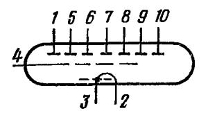 Схема соединения электродов лампы ИВ-12