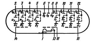 Схема соединения электродов лампы ИВ-18