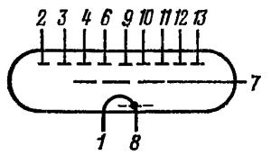 Схема соединения электродов лампы ИВ-2