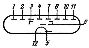 Схема соединения электродов лампы ИВ-22