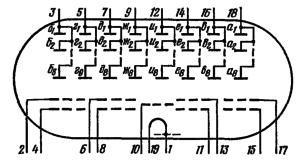 Схема соединения электродов лампы ИВ-28