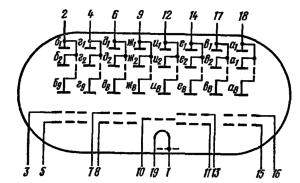 Схема соединения электродов лампы ИВ-28Б