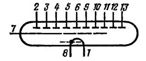 Схема соединения электродов лампы ИВ-3